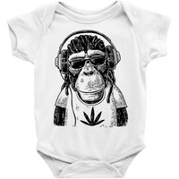 monkey hipster Baby Onesuit