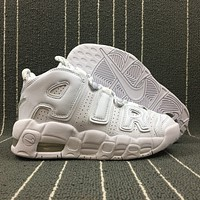 Morechoice Tuid Nike Air More Uptempo Triple White Basketball Shoes Low Casual Sport Shoes