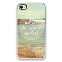 iPhone 4 Case - Not All Who Wander Are Lost - iPhone Cover, beach ocean photograph, custom iPhone case, nature landscape photo, quote