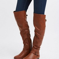 Buckled Knee-High Flat Boots