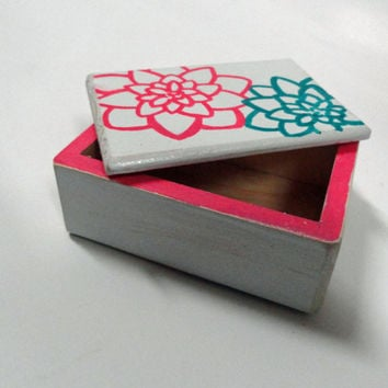 Pink and Teal Keepsake Box - Gifts for Her - Gifts Under 20