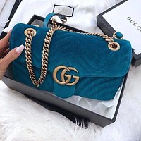 LOUIS VUITTON LV G GG popular women's one-shoulder bag is purple with fashionable corrugated velvet shopping bags Sapphire Bag Sky Blue