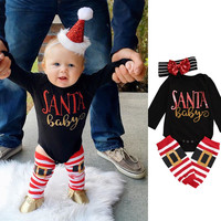 Infant Baby Girls Clothes Christmas Newborn Bebes Long Sleeve Cotton SANTA Baby Bodysuit Romper Legging Warmer Headband 3pcs