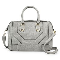 Women's Cracked Print Satchel Handbag - Black/White