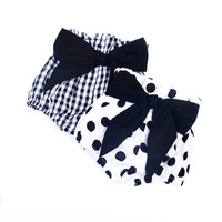 KIKIKIDS Baby Girls Cotton Bowtie High Waist Blommers W/ Black Plaid & White Dot, Kids Girls Romp Bread shorts Price for 1 Color