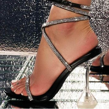 New popular rhinestone lace with transparent high-heeled sandals  shoes