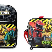 """Dreamworks DinoTrux 14"""" Canvas Black School Backpack Plus Insulated Lunch Bag"""