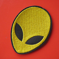 Iron-on Embroidered Patch Alien face (gold) 2.9 inch