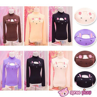 Reservation! [5 Colors Bunny/Bear] Open Chest Bottoming Cotton T-shirt SP151677
