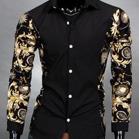 Button Down Lapel Collar Floral Printed Sleeve Shirt
