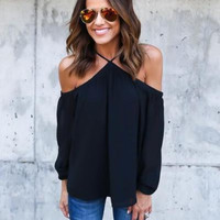 Off-Shoulder Chiffon Halter Tops