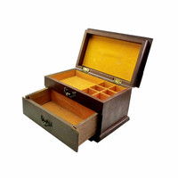 Traditional Wooden Jewelry Box Accessory Organizer Golden Yellow Lined Drawers Walnut Varnished Brass Fittings Gold Accents Jewelry Storage