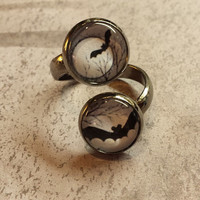 Bats! Dual Bats on one Adjustable Ring. Glass and Gunmetal