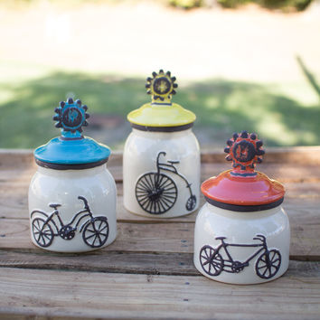 Set of 3 Ceramic Bicycle Canisters