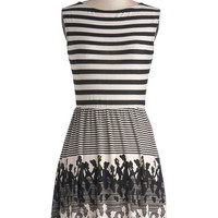 ModCloth Mid-length Sleeveless A-line Stripes and Silhouettes Dress