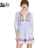 SheIn Embroidered Blue Striped Button Front Lantern Sleeve Boho Dress V Neck Three Quarter Length Sleeve A Line Dress