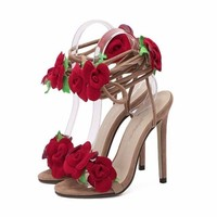 Lovely Red Flower Lace Up Women High Heel Sandal