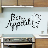 1PC English Words Painted Wall Stickers Quote Bon Appetit Vinyl Dinning Room Decor Kitchen Decals Art New City Life Style