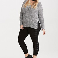 Faux Leather Lace Up Cropped Leggings