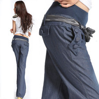 New High Waist Jeans For Women Bloomers Wide Leg Pants Elastic Waist Bow Trousers Loose Denim Pants with Belt  ZJ001