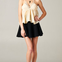IVORY PEPLUM LOW BACK TOP