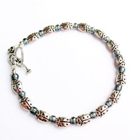 Silver Ladybug Bracelet - Pewter Beads with Bluish-Gray Glass Spacers and Heart Toggle Clasp