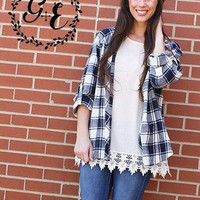 Grace and Emma Navy Blue Button Up Flannel