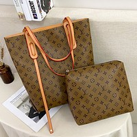 LV Louis Vuitton Monogram Canvas Handbag Shoulder Bag Two-Piece Set