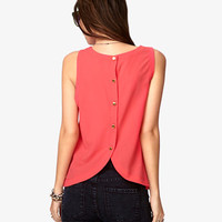 Buttoned Back Georgette Tank