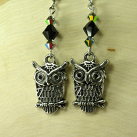 Owl Earrings with jet black and metallic crystals, woodland owl charms