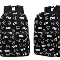 EXO chanyeol luhan BLACK Backpack bag Schoolbag exodus EXO-K EXO-M KPOP NEW