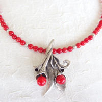Red Coral Necklace,  Flower Pendant, Coral Jewelry Feminine ,