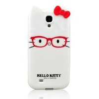 I Need Stylish Cartoon Hello Kitty TPU Glasses & Bow Case Cover Compatible for Samsung Galaxy S4 SIV i9500(White)