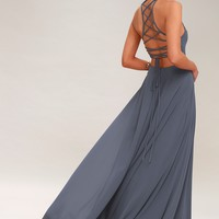 Strappy to be Here Denim Blue Maxi Dress