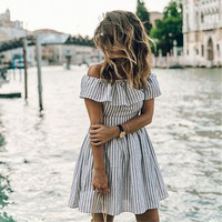 Striped Spring Summer Dress 2017 Club Sexy Strapless Dresses Off Shoulder Slash Neck White Black Slim Women Mini vestidos