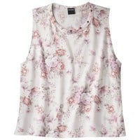 Juniors Floral Graphic Tank - Ivory