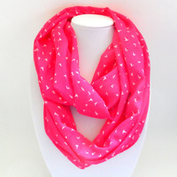 Hummingbird Chiffon Infinity Scarf- Bright Pink, Double Wrap, Long, Different Ways to Wear, Trendy and Modern