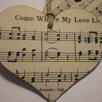 SALE-Heart Shape Vintage Song Book Tags/Ornaments, favors-set of 4, for Valentines, Weddings,  Anytime