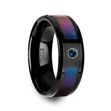 Black Ceramic Ring With Blue & Purple Color Changing Inlay And Alexandrite Setting - 8mm