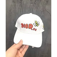 Dior classic letter embroidery men and women baseball cap white