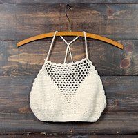 crochet halter crop top in sand