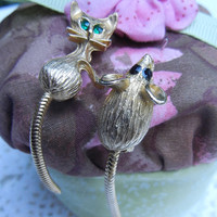 Cat and Mouse Jewelry, Set of Vintage Mid Century Scatter Pins, Vintage Brooches, Gold Tone Metal, Rhinestone Eyes, Articulated Tails