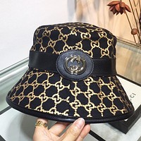 CUCCI 2020 new GG fisherman hat three-dimensional logo gold embroidery black