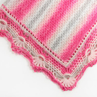 Knitted Baby Blanket - Pink and Gray