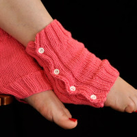 LEG WARMERS, Boot Cuffs, Knit Pink, Button, Boot Socks, Hand Knitted Autumn & Winter Legwarmers, Merino Acrylic, Made to Order