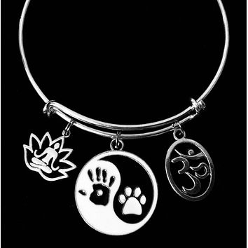 Yin Yang Symbol Paw Print Lotus Flower Om Expandable Charm Bracelet Silver Adjustable Wire Bangle One Size Fits All Gift