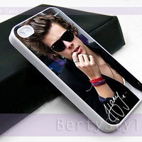 Iphone Case - Iphone 4 Case - Iphone 5 Case - Samsung s3 - samsung s4 - One Direction Harry Styles - Photo Print on Hard Plastic