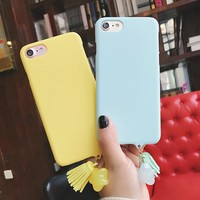Solid Candy Color Frosted Hard PC Phone Back Cover Case For iPhone 6 6S 7 Plus New Capa Fundas Housing Cases With Luxury Tassels