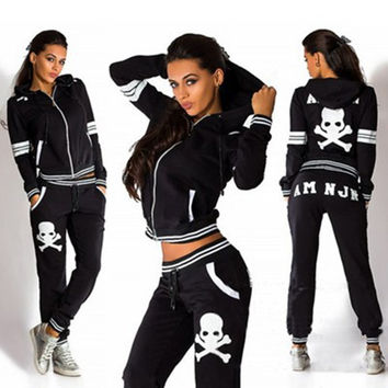 2016 New Fashion Women's Sport Pants + Hoodies Casual Tracksuits Printed Skull Flowers Sweatsuit Sportwear Clothing Sets
