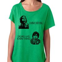 Jon Snow Knows nothing Tyrion lannister drinks and know things women's triblend dolman shirt